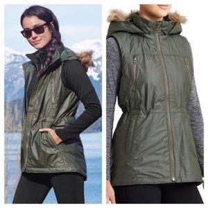 Athleta Alpine Air Vest Removable Hood Green